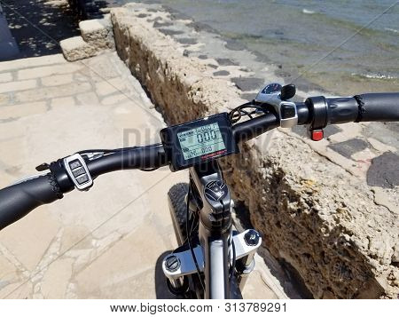 Honolulu - June 9, 2018: Rad Power Bikes Display Screen, Front Tire, And Handle Bars .   The Lcd Dis