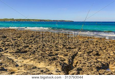 Summertime. The Most Beautiful Beaches Of Apulia: Alimini Bay. Salento Coast: Italy (lecce). It Is A