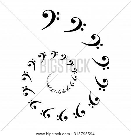Bass Clef Spiral. Archimedean Spiral Made Of  The Most Common Musical Symbol F-clef. Two Turnings Of