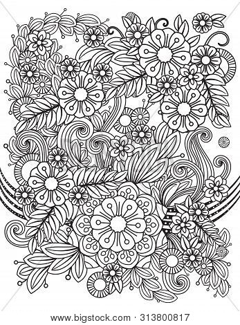 Adult Coloring Page With Floral Pattern. Black And White Doodle Flowers. Bouquet Line Art Vector Ill