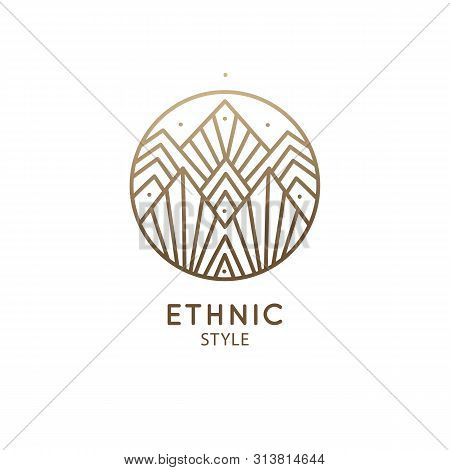 Modern Esoteric Abstract Mountain Logo. Zen Minimal Symbol Of Mountains. Natrural Minimalistic Lands