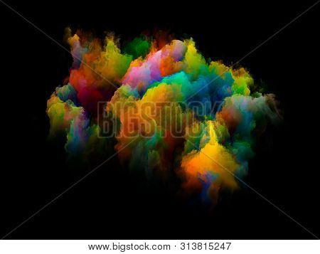Vibrant Bit. Rainbow Island series. Design made of vibrant patch of hues and gradients to serve as background for projects on art, creativity and design poster