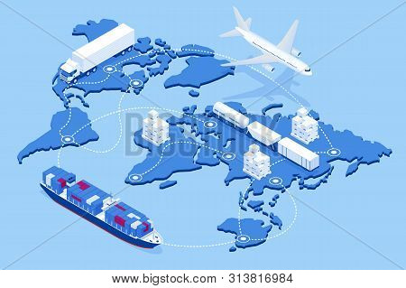 Global Logistics Network Flat 3d Isometric Vector Illustration Icons Set Of Air Cargo Trucking Rail