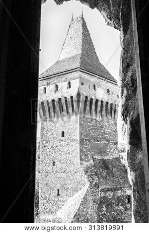 Turnul Neboisa Or Neboisa Defense Tower Black And White View At The Corvin Castle, Hunyadi Castle Or