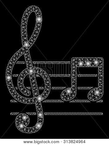 Glossy Mesh Musical Notation With Lightspot Effect. Abstract Illuminated Model Of Musical Notation I