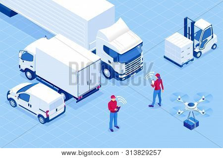 Isometric Online Express, Free, Fast Delivery, Shipping Concept. Checking Delivery Service App On A