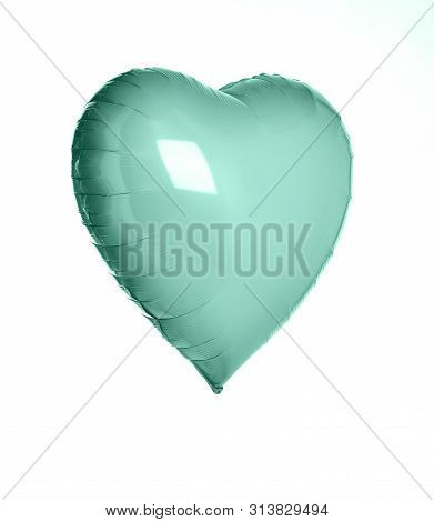 Single Light Green Pastel Color Big Metallic Heart Balloon Object For Birthday Isolated On White Bac
