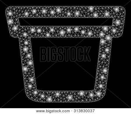 Glowing Mesh Pail With Glitter Effect. Abstract Illuminated Model Of Pail Icon. Shiny Wire Frame Tri