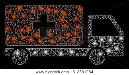 Glossy Mesh Medical Shipment With Glow Effect. Abstract Illuminated Model Of Medical Shipment Icon.