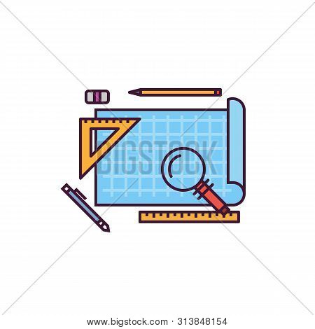 Blueprint And Architect Workspace Vector Icon. Blue Paper With Ruler And Pen. Line Style, Pixel Perf