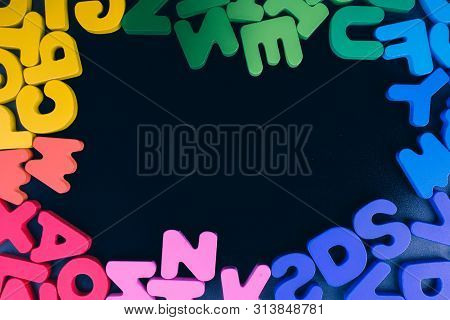 poster of Colorful Letters of Alphabet made of wood