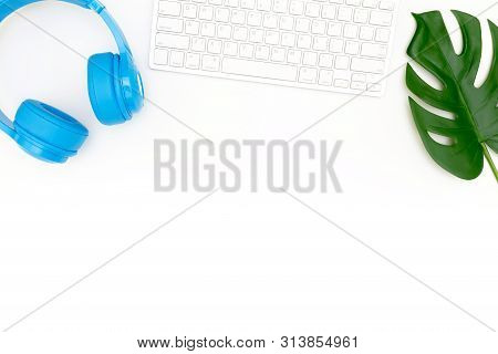 Creative Flat Lay Photo Of Modern Workplace With Laptop, Top View Laptop Background And Copy Space O