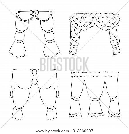 Vector Design Of Fabric And Decoration Sign. Set Of Fabric And Cornice Stock Symbol For Web.