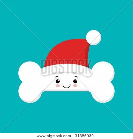 Human Bone Cute Cartoon Character In Santa Hat. Body Anatomy Element, Health Medical Sign, Internal