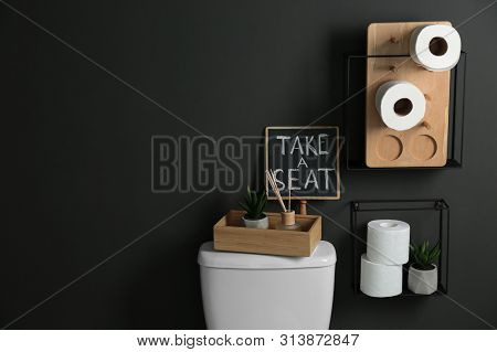 Decor elements, necessities and toilet bowl near wall. Bathroom interior poster