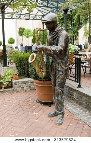 Subotica, Serbia - August 31, 2012: The Sculpture Of A Saxophonist In Subotica. Subotica Is A City I