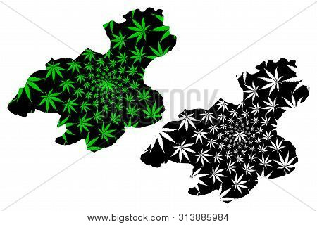 Karabuk (provinces Of The Republic Of Turkey) Map Is Designed Cannabis Leaf Green And Black, Karabük