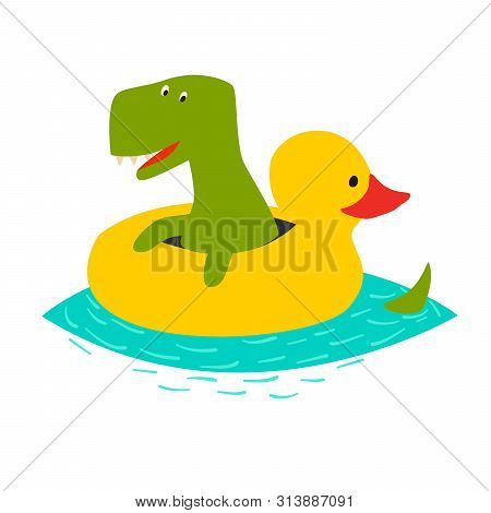 Cute dinasaur swiming with yellow inflatable duck vector illustration. Green t-rex cartoon doodle print isolated on white background