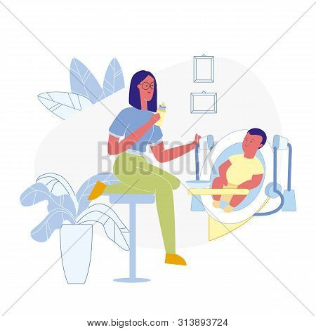 Toddler Feeding Process Flat Vector Illustration. Smiling Mom, Babysitter And Child In Baby Chair Ca
