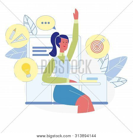 Smart Student At Classroom Vector Illustration. Female Pupil Raising Hand At Lesson, Sitting At Desk