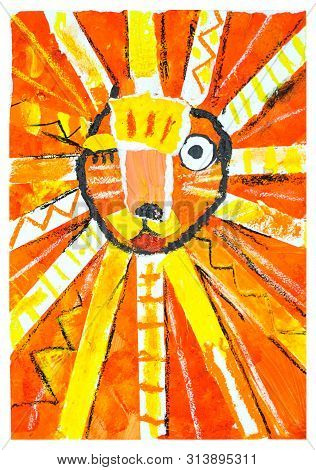 Eye Blinking Lion. Abstract Painting. Child Drawing.