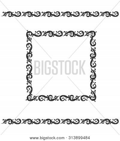 Decorative Ornament Page Boarder And Frame. Floral Pattern. Vector Illustration Decor