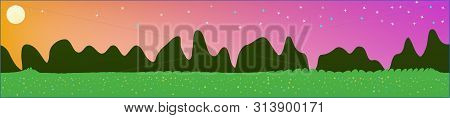 Fancy Sky, And Mountains Landscape. Light Colorful Skinali Art Design. Wide Artistic View. Cool Glas