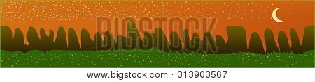 Orange Red Sky, And Mountains Landscape. Fairy Tale Panoramic Landscape. Landscape Fable. Clean Glas