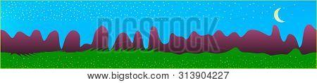 Azure Sky, And Mountains Landscape. Fairy Tale Panoramic Landscape. Landscape Fable. Clean Glass Pri