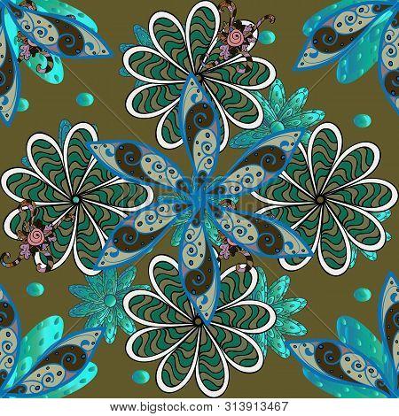 In Sketch Style Blue, Brown And Green Colors. Raster Illustration. Raster Illustration. Collection O