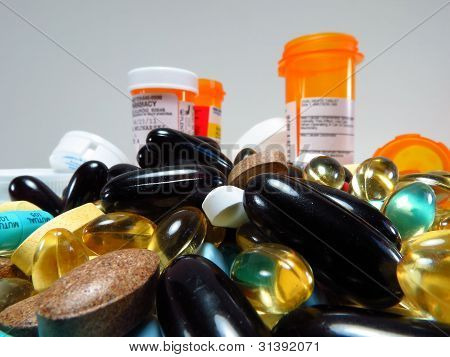 Colorful Pills and Containers