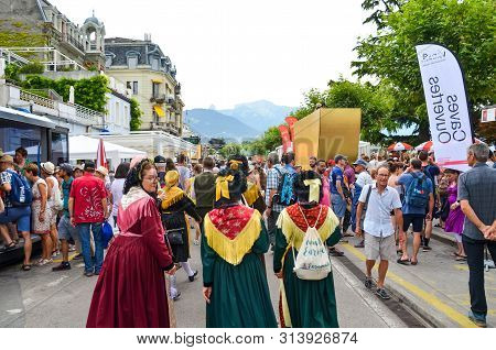 Vevey, Switzerland - July 26 2019: People In Costumes Celebrate Fete Des Vignerons 2019. Traditional