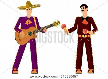 Mexican With A Guitar. Ready To Sing And Have Fun. Holiday Fun And Joy. Traditional Music. Vector Il