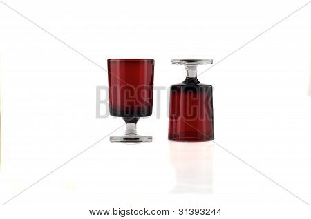 Red Glass For Liqueur.