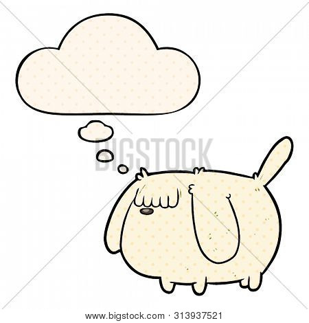 funny cartoon dog with thought bubble in comic book style
