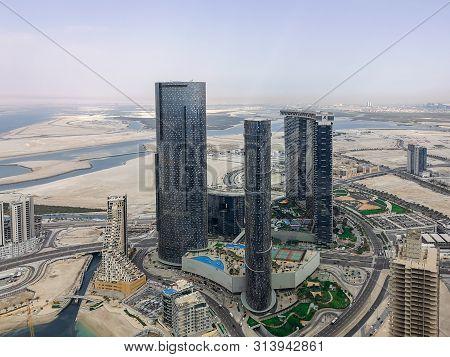 Aerial Drone Shot Of Al Reem Island Gate Towers, Sun And Sky Towers - Abu Dhabi City Landmarks  - Ab
