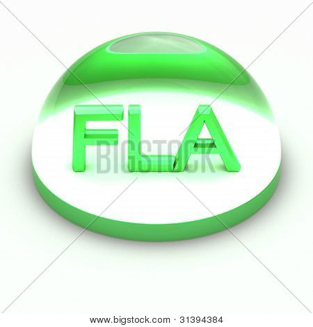 3D Style file format icon over white background - FLA poster