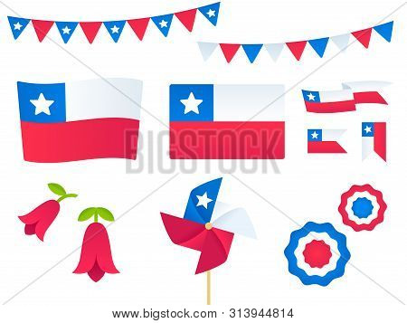Chile Vector Design Elements Set. Flags, Ribbons, Pinwheels, Rosettes, National Flower Copihue. Fies