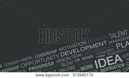 Word Cloud With Keywords About The Idea And Solution Concepts, Copy Space (3d Render)