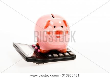 bookkeeping. financial problem. moneybox with calculator. Piggy bank. income capital management. money saving. Accounting and payroll. planning and counting budget. Business expert poster