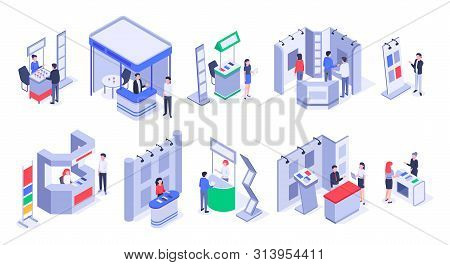 Isometric Sale Stands. Expo Demonstration Stand, Product Exhibition Trade Stalls And Events People.