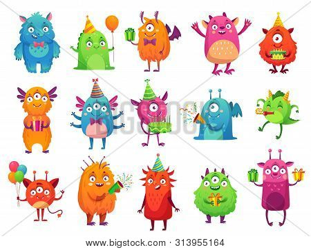 Cartoon Party Monsters. Cute Monster Happy Birthday Gifts, Funny Alien Mascot And Monster With Greet