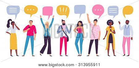 Communicating People. Chat Dialog Communication, Smartphone Call Talking Or Speaking People Group. P
