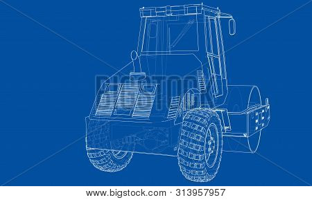 Construction Machine. Asphalt Compactor Outlined Vector Rendering Of 3d. The Layers Of Visible And I