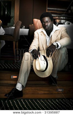 Male Fashion Model In White Suit