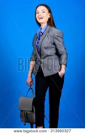 Student Life. Smart Beauty. Nerd. Business. Shool Girl With Knapsack. Girl Student In Formal Clothes