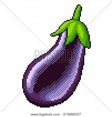 Pixel Art Eggplant Detailed Illustration Isolated Vector