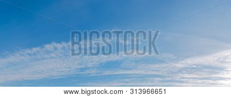 Gorgeous Autumn Blue Sky With Clouds. Beautiful Nature Background In Fine Weather