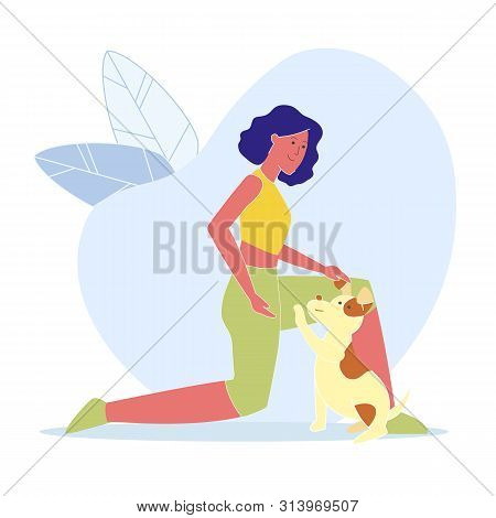 Woman Playing with Dog Flat Vector Illustration. Smiling Young Lady, Pet Lover Cartoon Character. Friendly Girl Fondles Adorable Spotted Puppy, Cute Playful Domestic Animal with Happy Owner poster