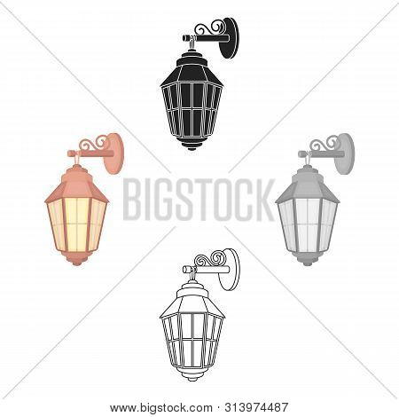 Street Lantern Icon In Cartoon Style Isolated On White Background. Light Source Symbol Stock Bitmap